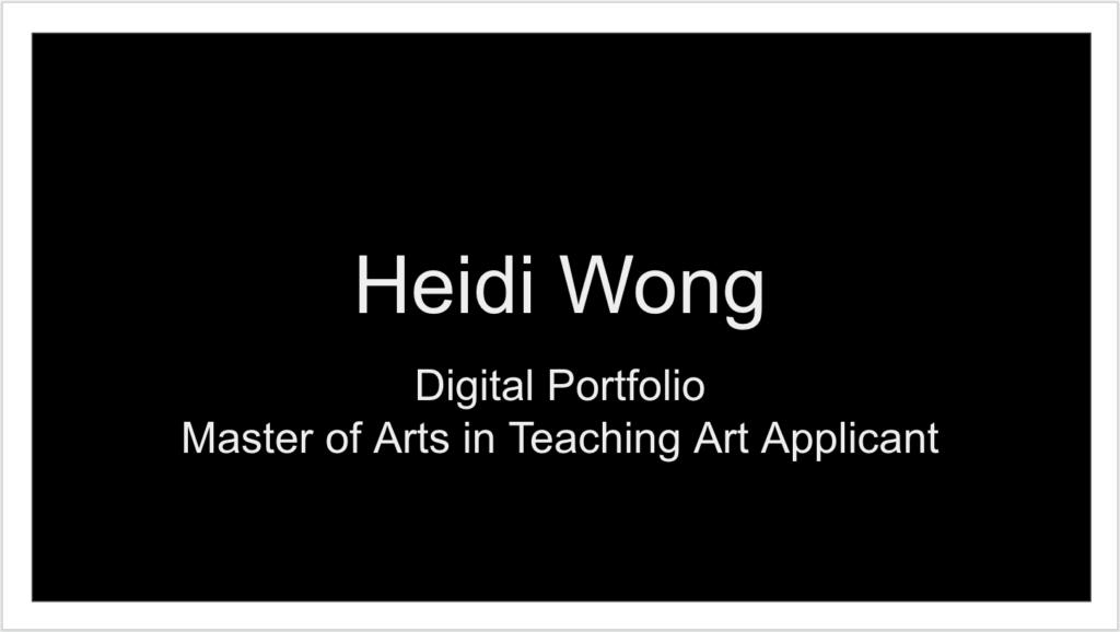 Digital Portfolio Title Page